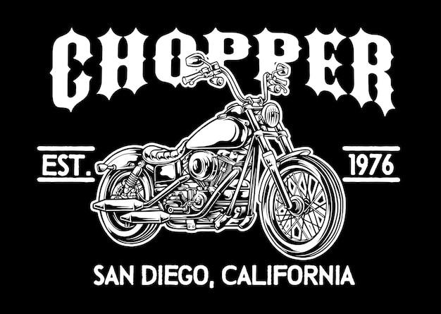 Chopper motorcycle emblem Premium Vector