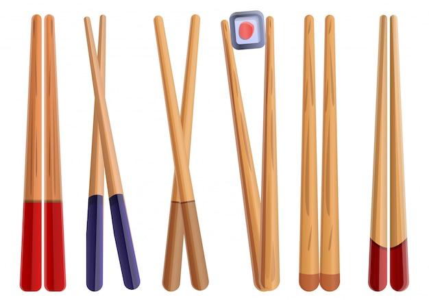 Chopsticks set, cartoon style Premium Vector