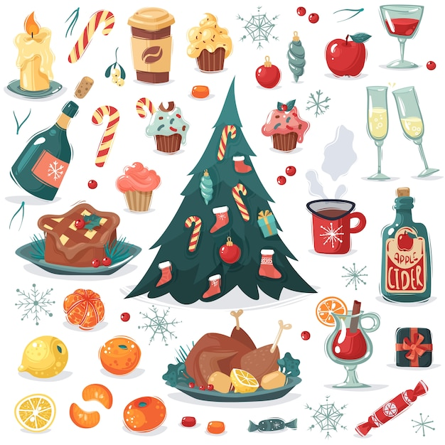 Chrismas new year cartoon collection. a set of christmas and new year food and drink in cartoon style and other items, tree with toys and candy. fruit, candy, gifts, wine, cider, festive meal Premium Vector