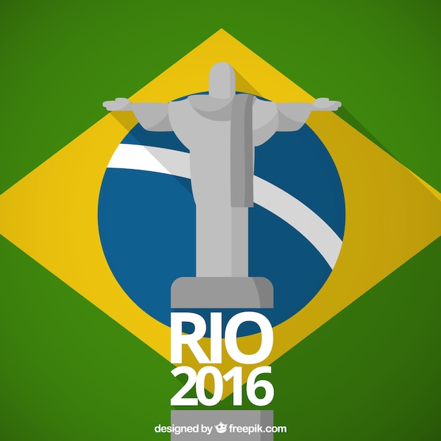 Christ the redemmer with brazil flag background