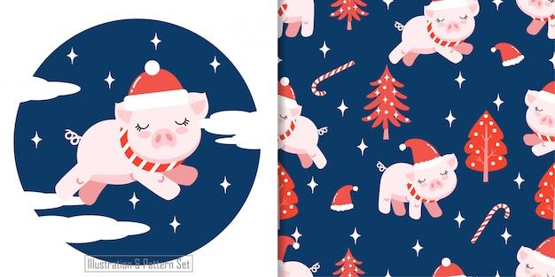 Christhttps://cdn-contributor.freepik.com/qeyqey/3903005/previews/626/pig1-01.jpgmas seamless pattern cute pig winter Premium Vector