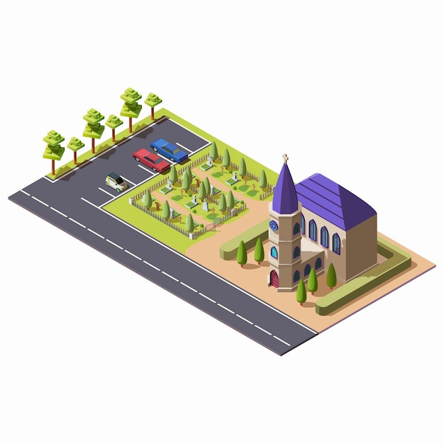 墓地とアイソメ図スタイルの駐車場の近くのチャペルとキリスト教のカトリック教会 無料ベクター