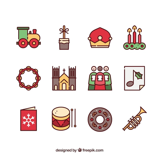 Christian Christmas Icons Vector Free Download