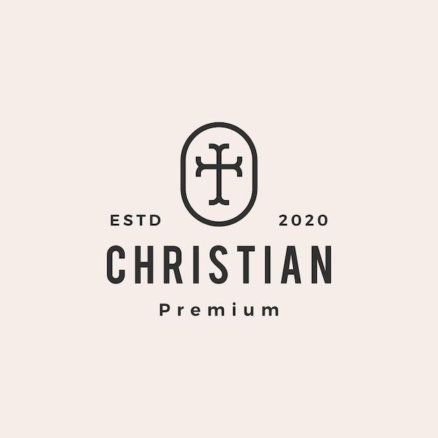 クリスチャンクロスチャーチヒップスターヴィンテージロゴ Premiumベクター