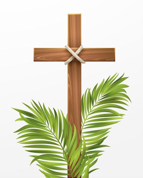 クリスチャンクロス。パームサンデー、イースター、そしてキリストの復活おめでとうございます。ベクターイラストeps10 Premiumベクター