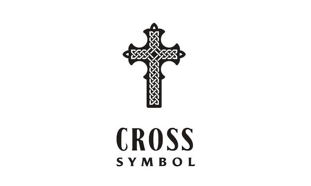 Christian cross with celtic knot logo Premium Vector