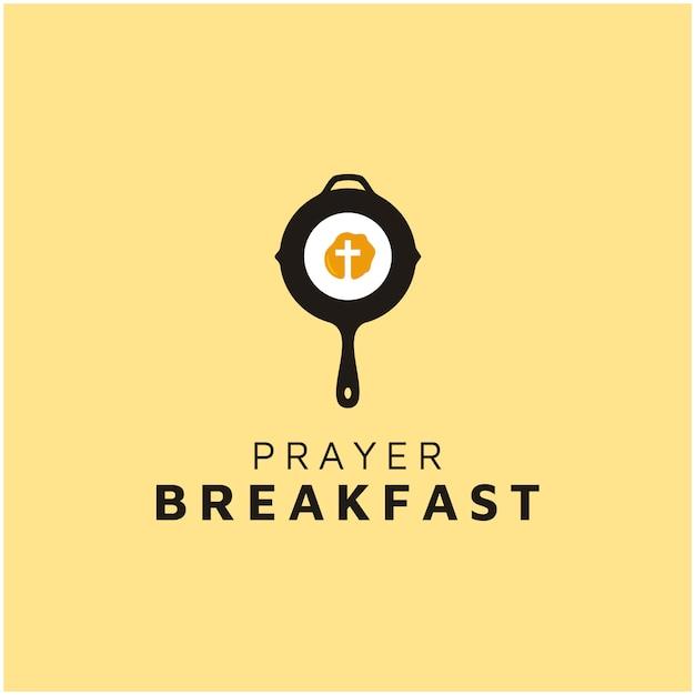 Christian cross with egg and pan for breakfast prayer logo Premium Vector