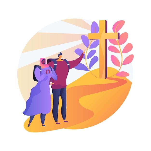 Христианские паломничества абстрактные концепции иллюстрации. совершите паломничество, посетите святые места, ищите бога, христианские монахини, монахи в монастыре, крестный ход, молитва Бесплатные векторы