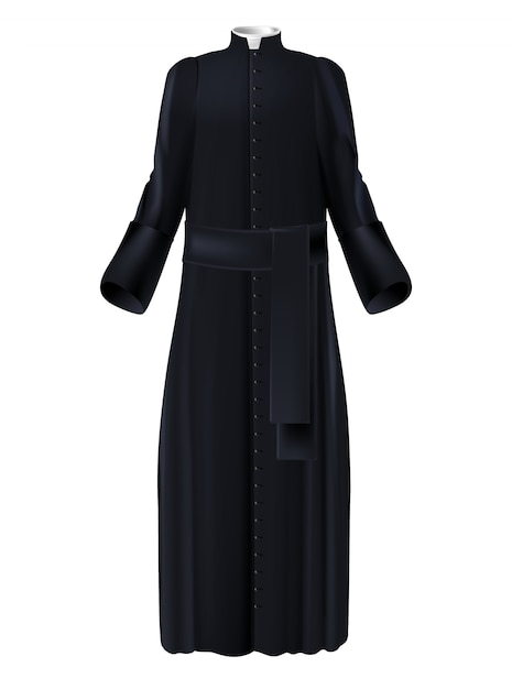Christian priest cleric black cassock with white collar Free Vector