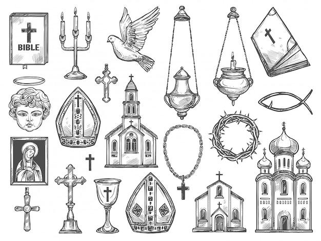 Christian religion church, bible, god icon, cross Premium Vector