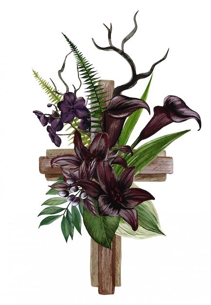 黒いユリとカラスで飾られたキリスト教の木製の十字架 Premiumベクター