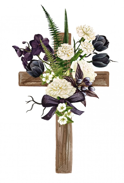 Christian wooden cross decorated with flowers and leaves Premium Vector