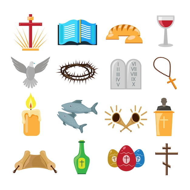 Christianity icons or elements set Premium Vector