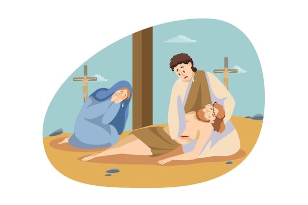 キリスト教、宗教、聖書の概念。マリアとサイモンはイエス・キリストの死体の近くに座って泣いています。 Premiumベクター