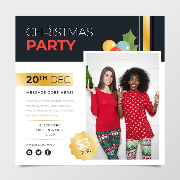 Christma party poster template with photo Free Vector