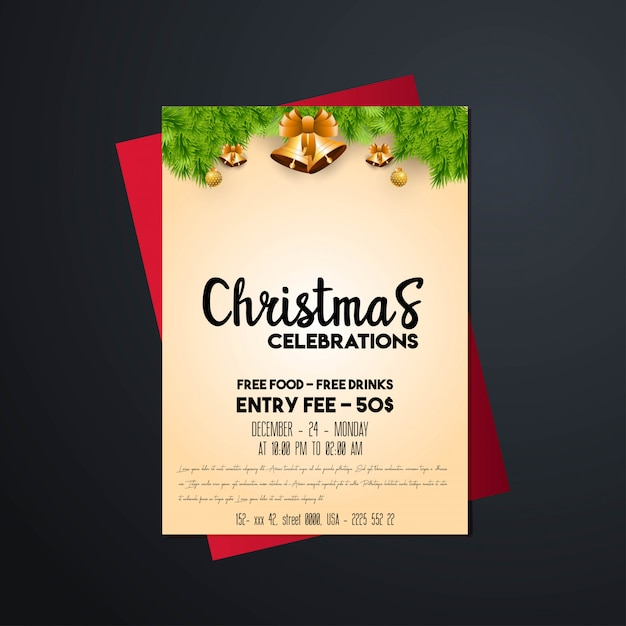 Christmas 2019 party poster template Premium Vector