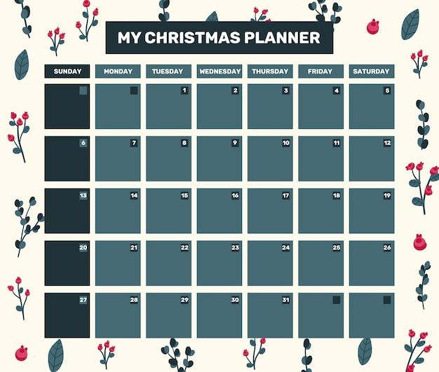 Christmas 2021 calendar holiday celebration design collection set sticker Premium Vector