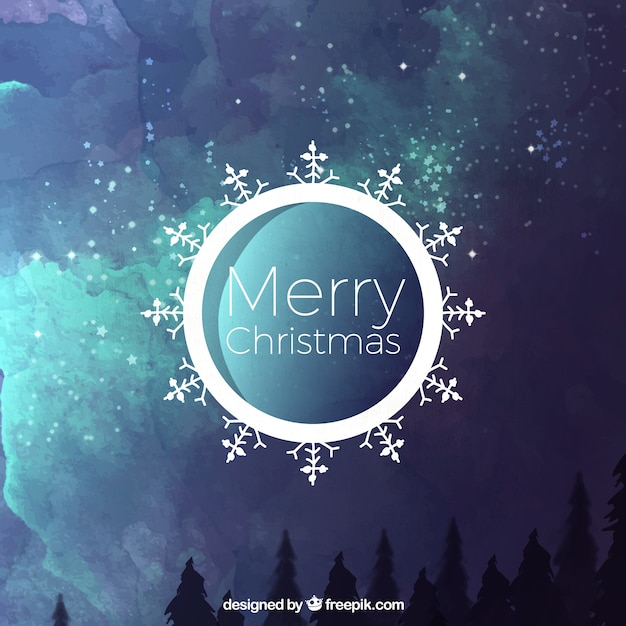 Christmas abstract background of watercolor\ landscape