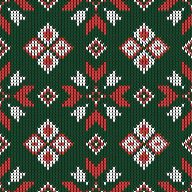 Christmas abstract knitted seamless pattern. Premium Vector
