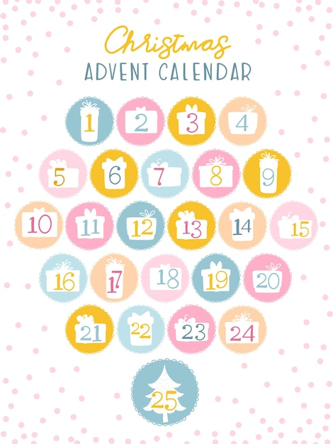 Christmas advent calendar for kids. numbers in the silhouettes of gift boxes. cute palette of sweets. Premium Vector