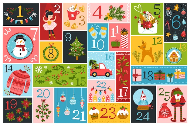 Christmas advent calendar with cute characters and festive elements in different shapes Premium Vector