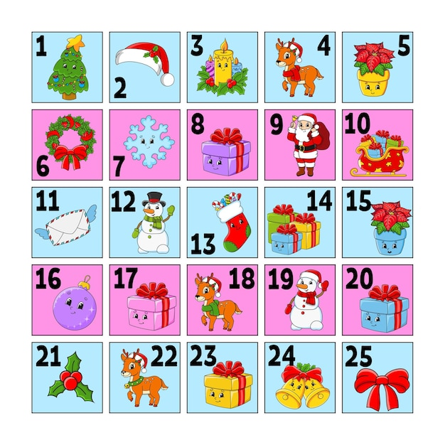 Christmas advent calendar with cute characters. santa claus, deer, snowman, fir tree, snowflake, gift, bauble, sock. Premium Vector