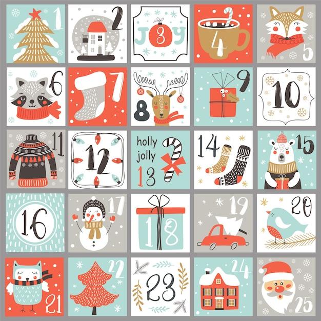 Рождественский календарь адвента с элементами рисованной. рождественский плакат. Premium векторы