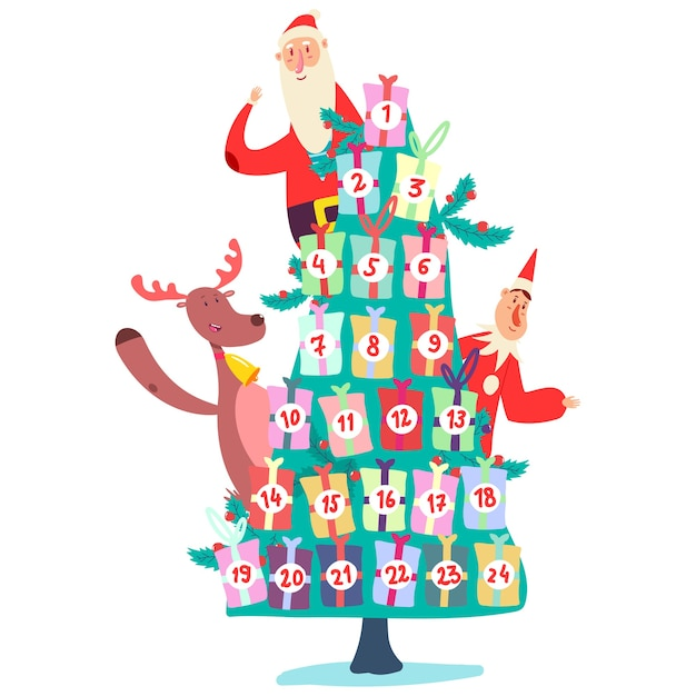 Christmas advent calendar with tree of gifts, cute santa claus, elf and reindeer. cartoon illustration isolated on a white background. Premium Vector