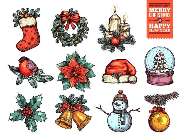 Рождества и счастливого нового года коллекция значков эскиза. Premium векторы