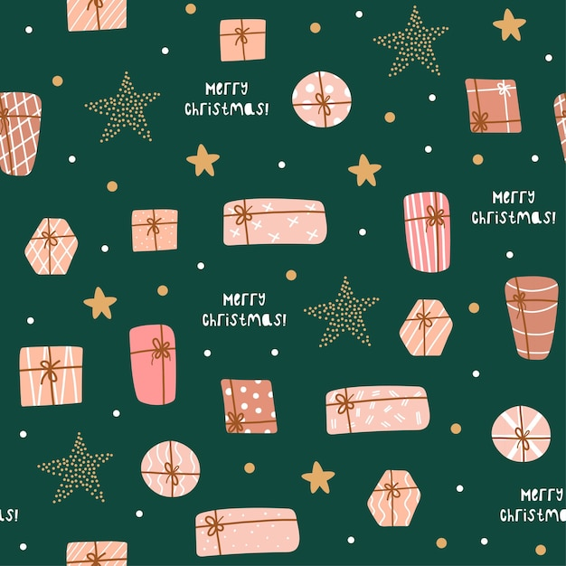 귀여운 선물 및 별 크리스마스와 새 해 복 많이 받으세요 완벽 한 패턴입니다. 벡터 디자인 템플릿입니다. 프리미엄 벡터