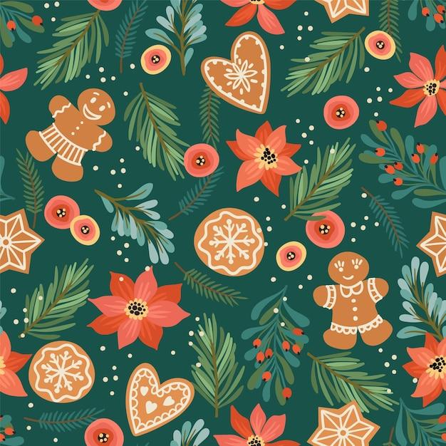 진저와 함께 크리스마스와 새 해 복 많이 받으세요 완벽 한 패턴입니다. 무료 벡터