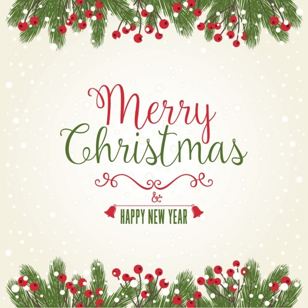 christmas and new year background with mistletoe free vector