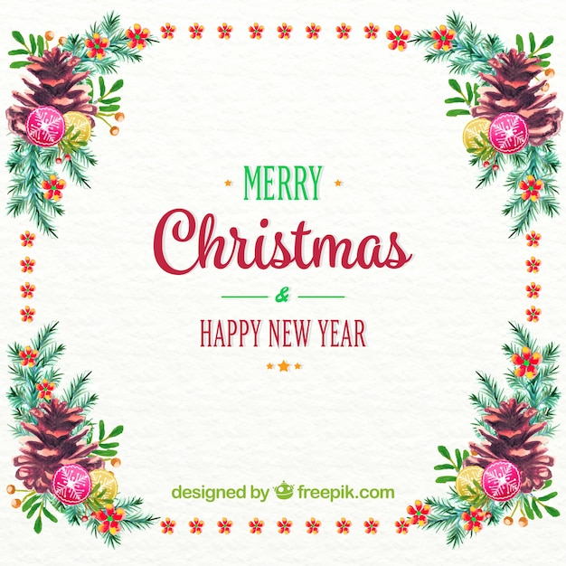 christmas and new year background with watercolor floral frame free vector