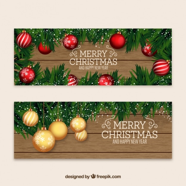 Christmas and new year banners with baubles Free Vector