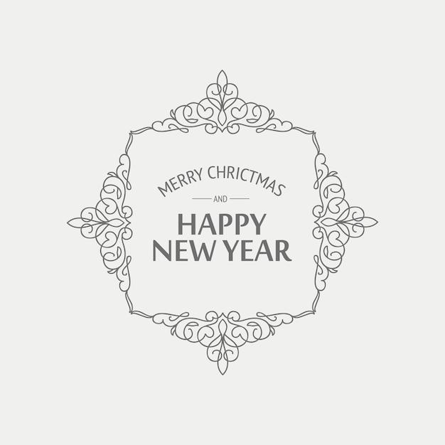 モノクロスタイルのクリスマスと年賀状 無料ベクター