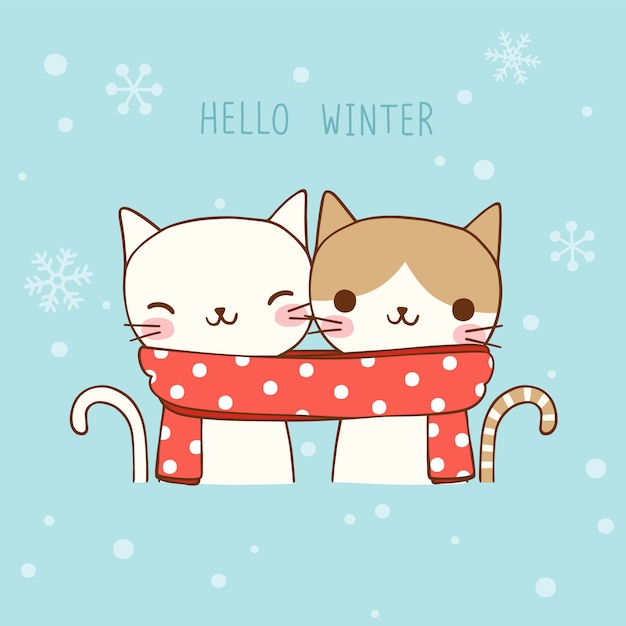 christmas and new year card with cute cats in flat style premium vector