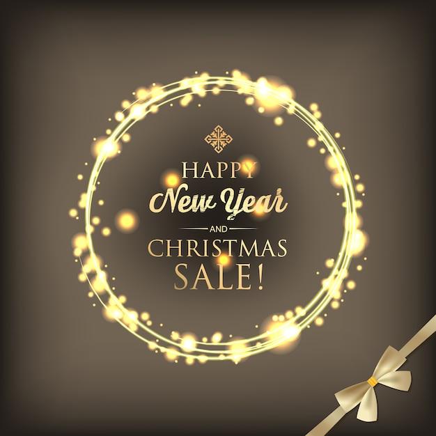 輝く光のリングの挨拶のテキストとリボンの弓とクリスマスと年賀状 無料ベクター
