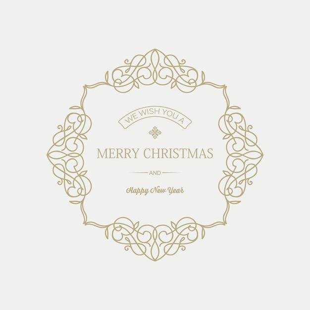 エレガントなフレームに挨拶の碑文とクリスマスと年賀状 無料ベクター