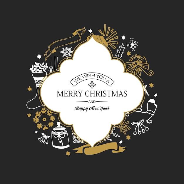 フレームに碑文と暗闇に手描きの伝統的なシンボルとクリスマスと年賀状 無料ベクター