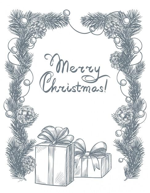 クリスマスと新年のフレームギフトボックス Premiumベクター