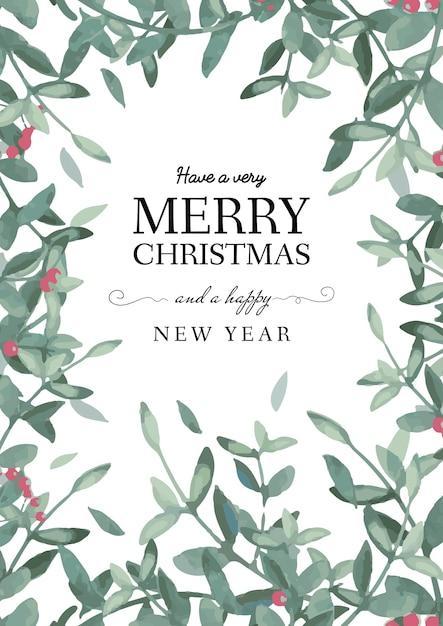 クリスマスと新年のグリーティングカードテンプレート 無料ベクター