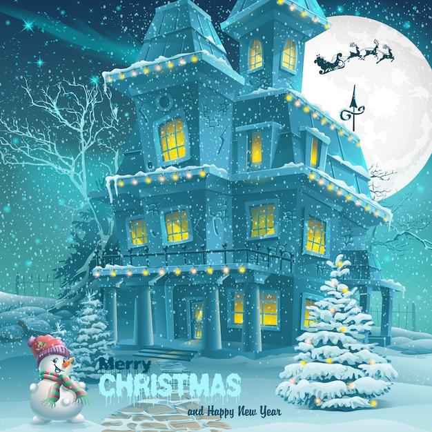 크리스마스와 새 해 인사 카드 프리미엄 벡터