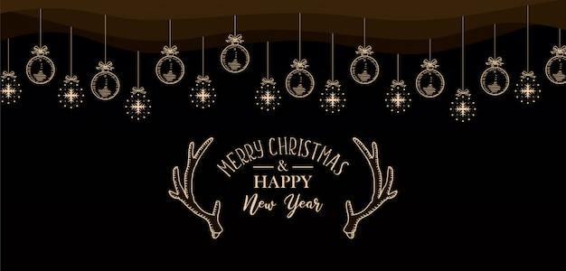 christmas and new year greeting design web banner premium vector