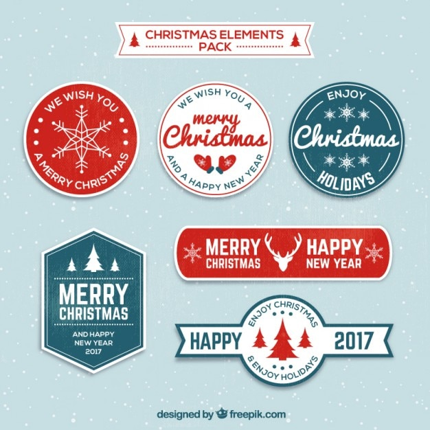 christmas and new year labels free vector