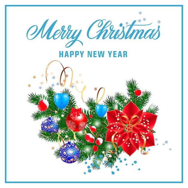 クリスマスと新年のレタリング 無料ベクター