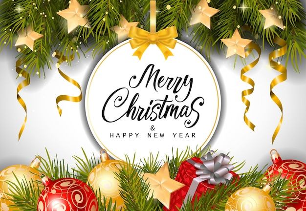 Christmas and New Year Lettering on Tag Free Vector