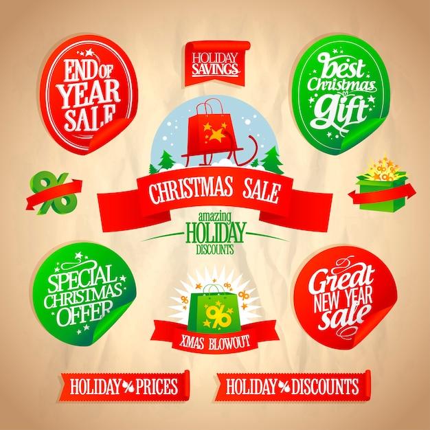 クリスマスとお正月のステッカーセット Premiumベクター