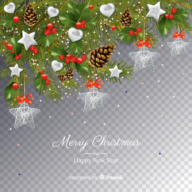 Christmas and New Year Transparent Background Free Vector