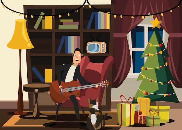 クリスマスと新年、リビングルーム、ベクトル、イラスト Premiumベクター