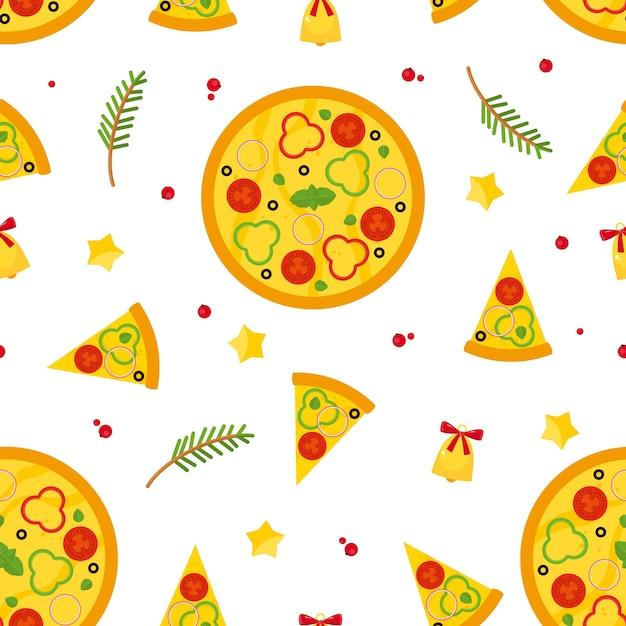 Рождество и новый год бесшовные модели с пиццей, кусочками пиццы и ингредиентами. Бесплатные векторы